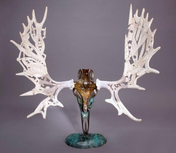 Gaia, 2009 by Shane Wilson (moose antler, bronze)