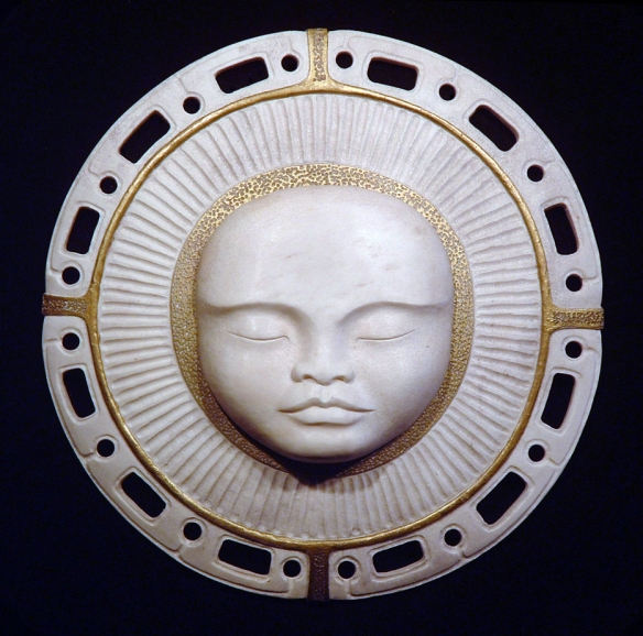 'Moon Child' (moose antler and gold leaf) by Maureen Morris